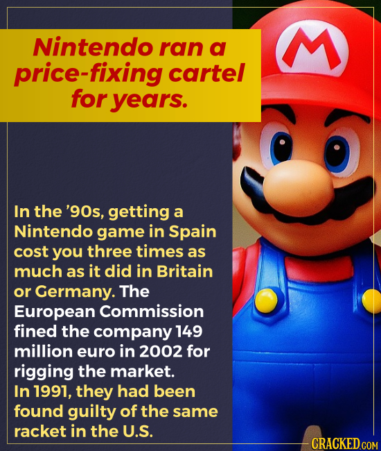 Nintendo ran a price-fixing cartel for years. In the '90s, getting a Nintendo game in Spain cost you three times as much as it did in Britain or Ger
