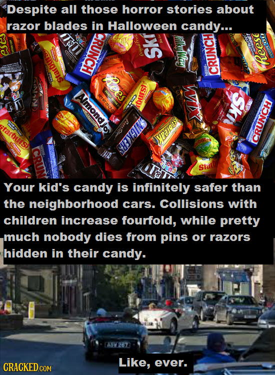 Despite all those horror stories about razor blades in Halloween candy... CRUNCH EWEON tRees heese CRUT Ia ISIDOY Amonatos ea fnse sarours SMIEEE estb