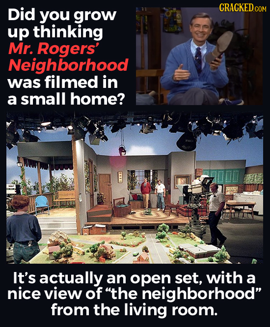 Did CRACKEDC COM you grow up thinking Mr. Rogers' Neighborhood was filmed in a small home? It's actually an open set, with a nice view of the neighbo