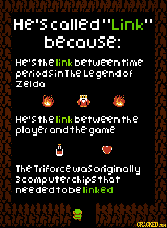 HE'SCoEdLink becouse: HE'S thE link betweentime pEriods in THE Legendor ZEldo HE'S thE linkbetWenthe ployer ond thE gome THE Trifoice wos originolly