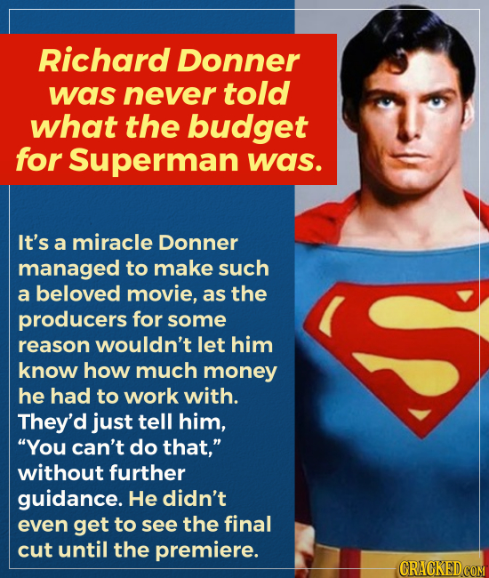 Richard Donner was never told what the budget for Superman was. It's a miracle Donner managed to make such a beloved movie, as the producers for some