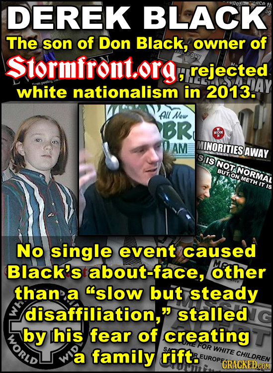 DEREK BLACK The son of Don Black, owner of Stormfront.org, guy rejected white nationalism in 2013. All New BR AM INORITIES BAWAY IS NOT BUT ON METH NO