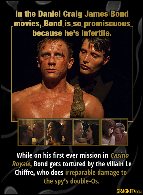 In the Daniel Craig James Bond movies, Bond is So so- promiscuous because he's infertile. While on his first ever mission in Casino Royale, Bond gets