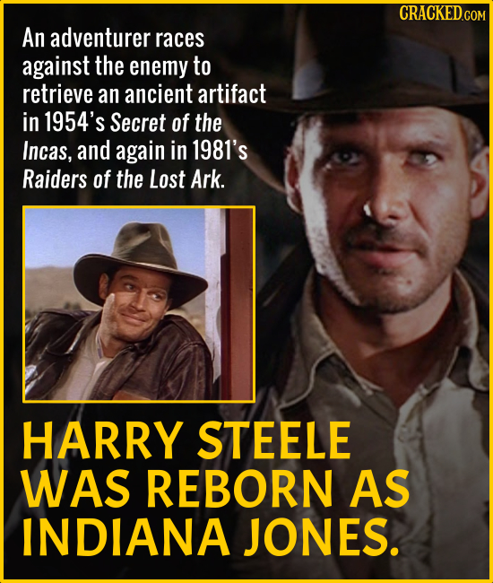 An adventurer races against the enemy to retrieve an ancient artifact in 1954's Secret of the Incas, and again in 1981's Raiders of the Lost Ark. HARR