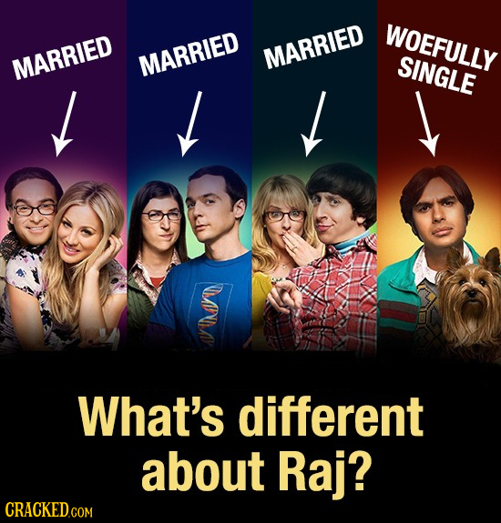 WOEFULLY MARRIED MARRIED MARRIED SINGLE What's different about Raj?