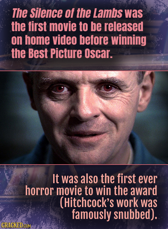 The Silence Of the Lambs was the first movie to be released on home video before winning the Best Picture Oscar. It was also the first ever horror mov