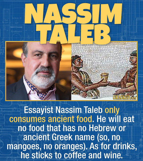 15 Bizarre Habits Of Incredibly Successful People - Essayist Nassim Taleb only consumes ancient food. He will eat no food that has no Hebrew or ancien