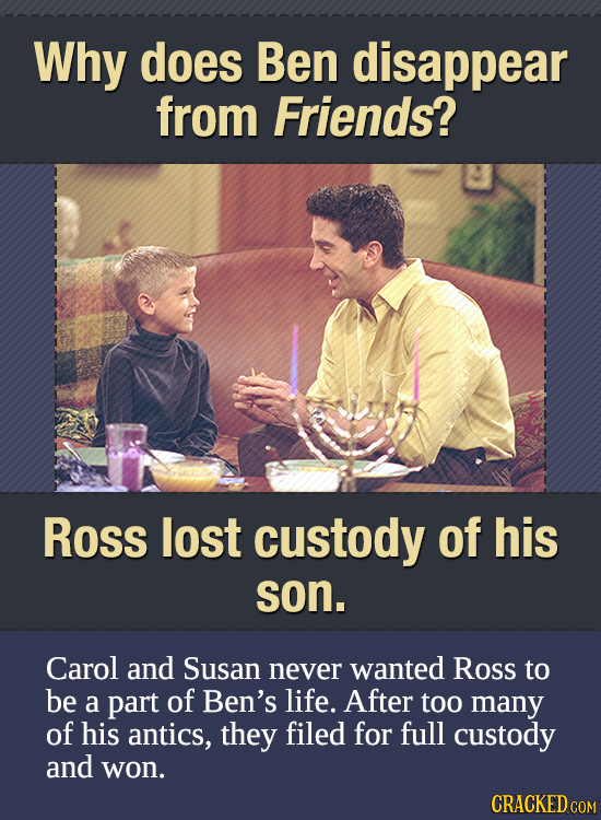 Why does Ben disappear from Friends? Ross lost custody of his son. Carol and Susan never wanted Ross to be a part of Ben's life. After too many of his