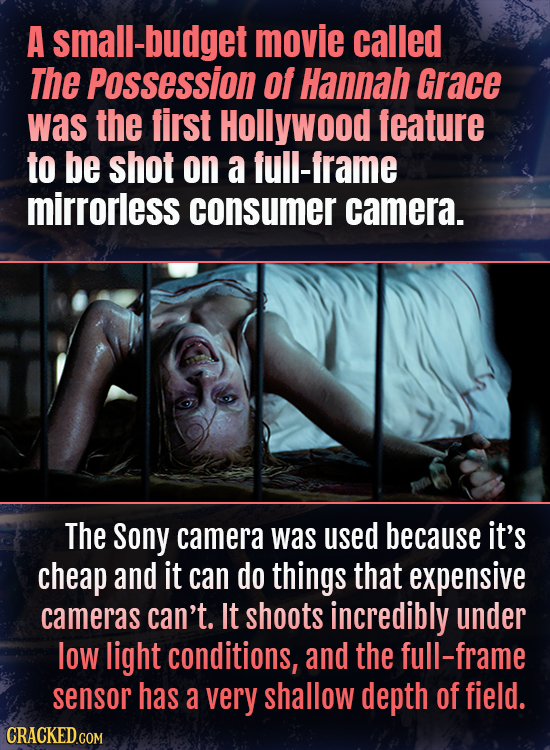 A all-budget movie called The Possession Of Hannah Grace was the first Hollywood feature to be shot on a full-frame mirrorless consumer camera. The So