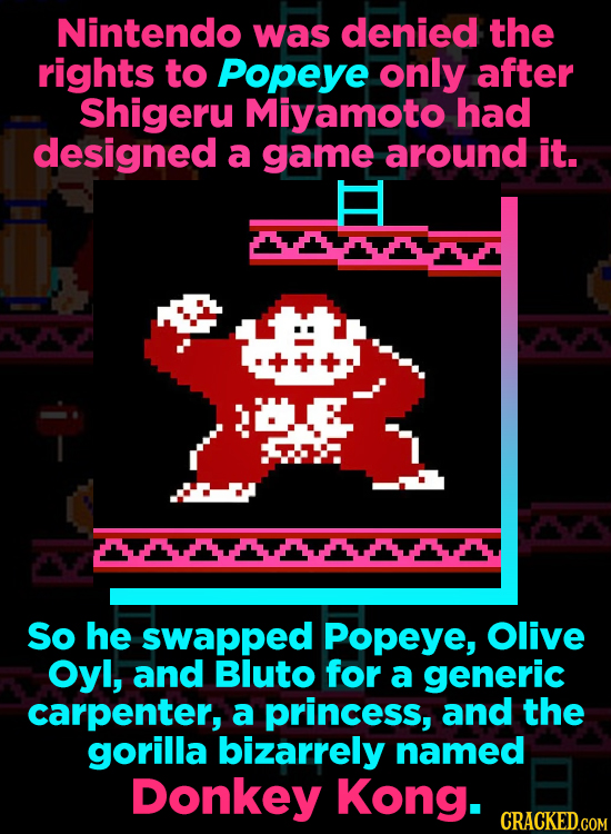 Nintendo was denied the rights to Popeye only after Shigeru Miyamoto had designed a game around it. So he swaPpEd Popeye, Olive Oyl, and Bluto for a g
