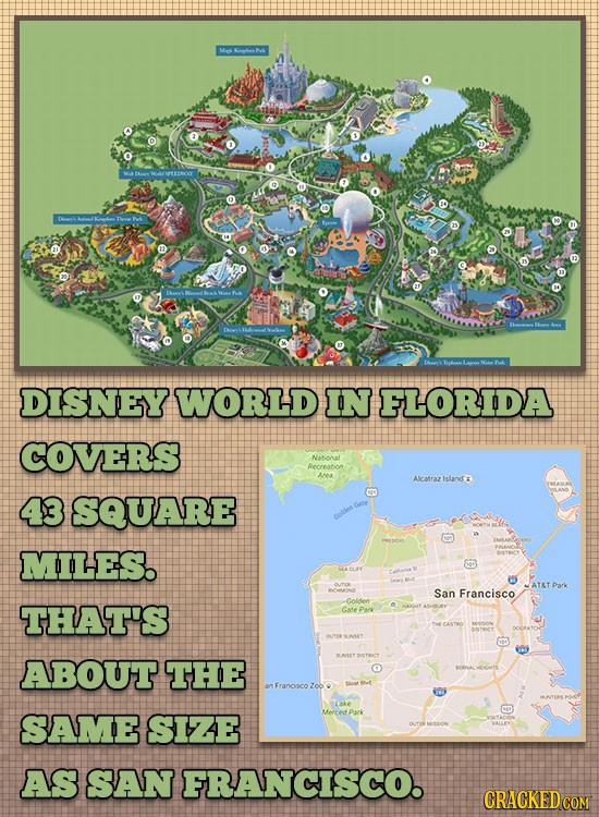 lek DISNEY WORLD IN FLORIDA COVERS Recration A Alcatraz island 43 SQUARE oolden MILES. ATAT ParK San Francisco THAT'S Goldden Gere Psr CASTEO ABOUT TH