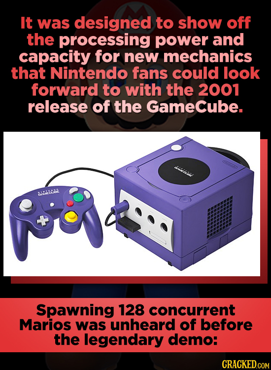 It was designed to show off the processing power and capacity for new mechanics that Nintendo fans could look forward to with the 2001 release of the