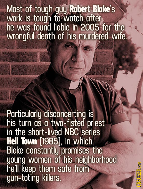 Most of tough guy Robert Blake's work is tough to watch after he was found liable in 2005 for the wrongful death of his murdered wife. Particularly di