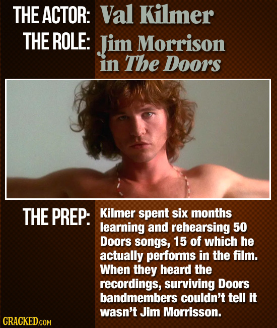 THE ACTOR: Val Kilmer THE ROLE: Jim Morrison in The Doors THE PREP: Kilmer spent six months learning and rehearsing 50 Doors songs, 15 of which he act