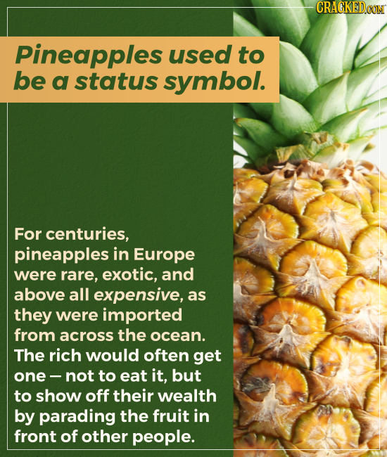 Pineapples used to be a status symbol. For centuries, pineapples in Europe were rare, exotic, and above all expensive, as they were imported from acro