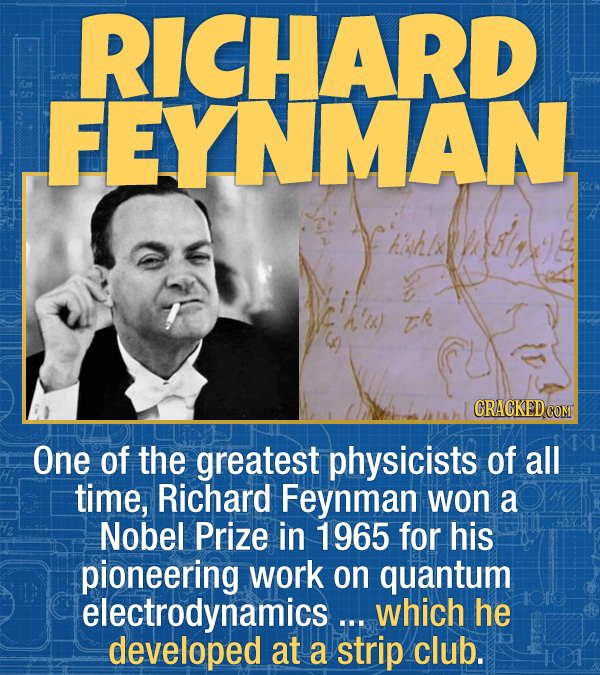 15 Bizarre Habits Of Incredibly Successful People - One of the greatest physicists of all time, Richard Feynman won a Nobel Prize in 1965 for his pion