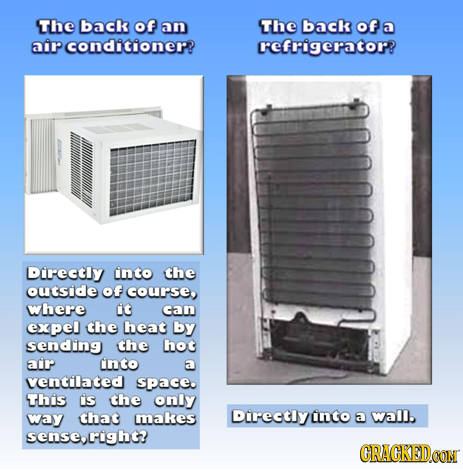 The back of an The back of a air conditioner? refrigerator? Directly into the outside Of course where it can expel the heat by sending the hot air int