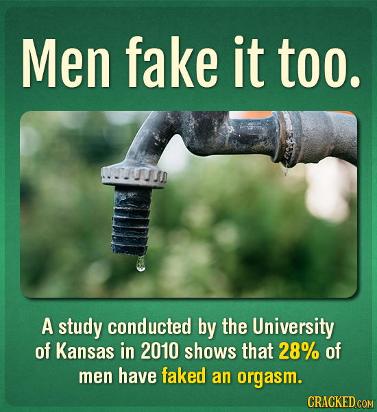 Men fake it too. UTUTSS A study conducted by the University of Kansas in 2010 shows that 28% of men have faked an orgasm. CRACKED COM