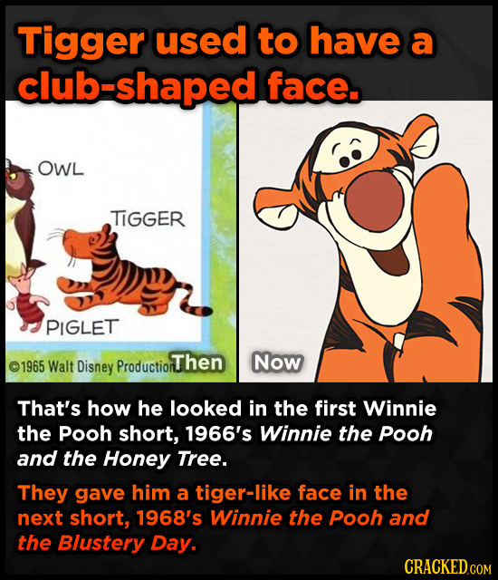 Tigger used to have a club-shaped face. OWL TIGGER PIGLET Walt Disney oThen Now 1965 Production That's how he looked in the first Winnie the Pooh shor