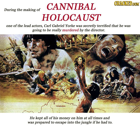 CANNIBAL CRAGKEDe During the making of HOLOCAUST one of the lead actors, Carl Gabriel Yorke was secretly terrified that he was going to be really murd