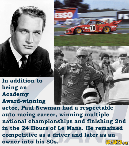 ESSO 70 43A 7rep e LS DRTSIUN SOC In addition to Cann being an Academy Award-winning seeefseae actor, Paul Newman had a respectable auto racing career