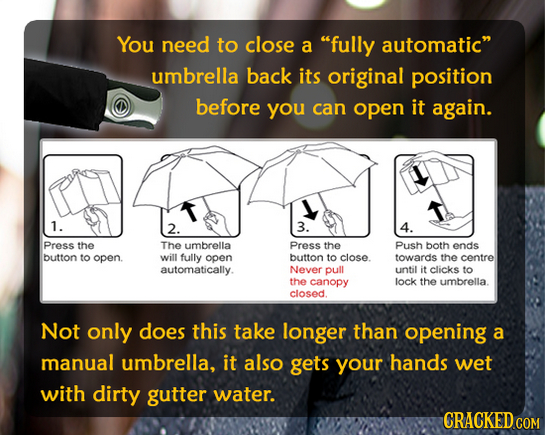 You need to close a fully automatic umbrella back its original position before you can open it again. 1. 2. 3. 4. Press the The umbrella Press the P