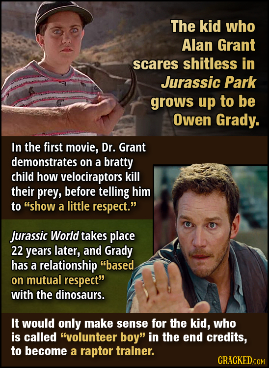 The kid who Alan Grant scares shitless in Jurassic Park grows up to be Owen Grady. In the first movie, Dr. Grant demonstrates on a bratty child how ve