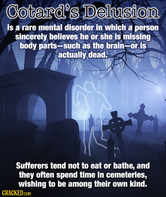 Cotard's Delusion is a rare mental disorder in which a person sincerely believes he or she is missing body parts-such as the brain-or is actually dead