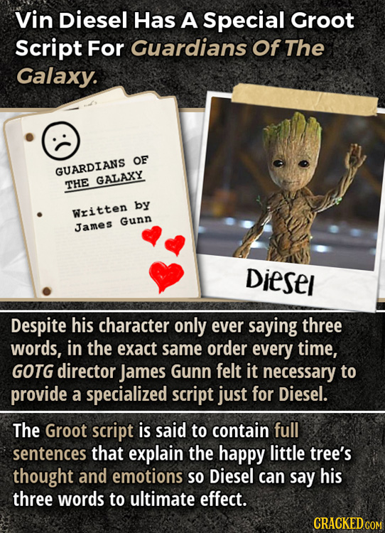 Vin Diesel Has A Special Groot Script For Guardians Of The Galaxy. OF GUARDIANS GALAXY THE by Written Gunn James Diesel Despite his character only eve