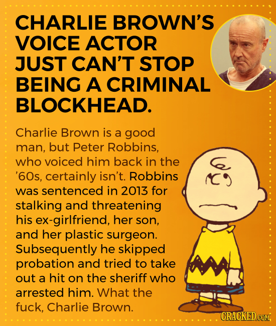 CHARLIE BROWN'S VOICE ACTOR JUST CAN'T STOP BEING A CRIMINAL BLOCKHEAD. Charlie Brown is a good man, but Peter Robbins, who voiced him back in the G '