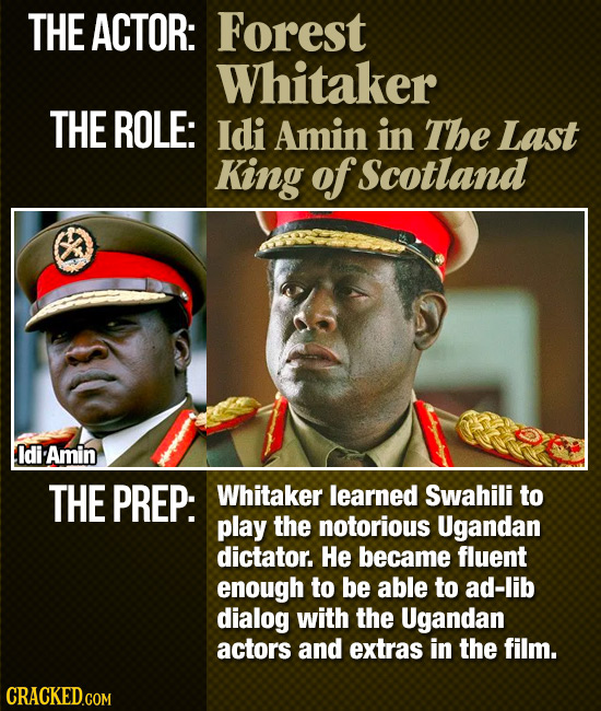 THE ACTOR: Forest Whitaker THE ROLE: Idi Amin in The Last King of Scotland Idi Amin THE PREP: Whitaker learned Swahili to play the notorious Ugandan d