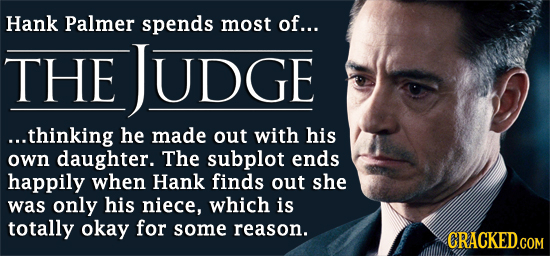 Hank Palmer spends most of... THE JUDGE ...thinking he made out with his own daughter. The subplot ends happily when Hank finds out she was only his n