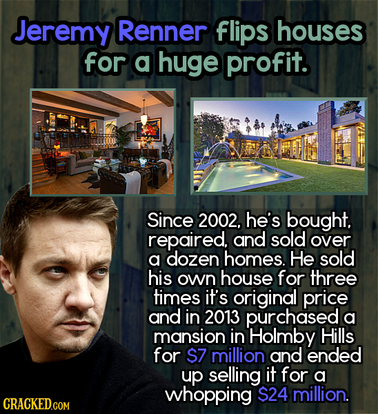 Jeremy Renner flips houses for a huge profit. Since 2002, he's bought. repaired, and sold over a dozen homes. He sold his own house for three times it