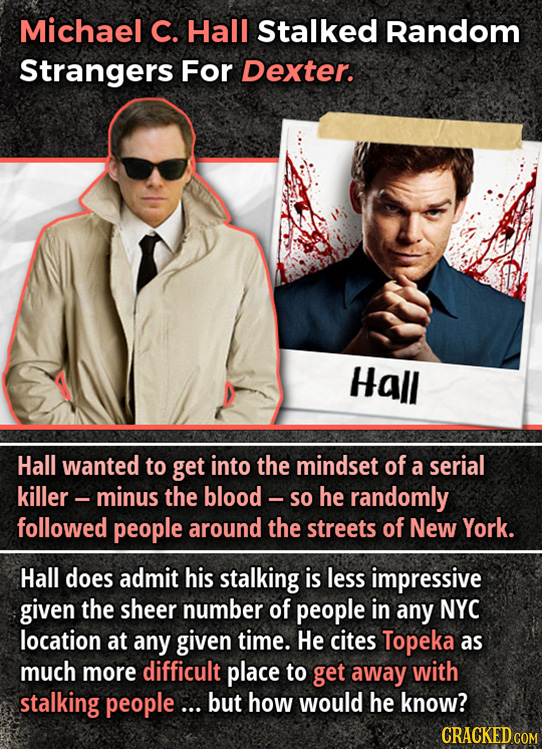 Michael C. Hall Stalked Random Strangers For Dexter. Hall Hall wanted to get into the mindset of a serial killer - minus the blood - so he randomly fo