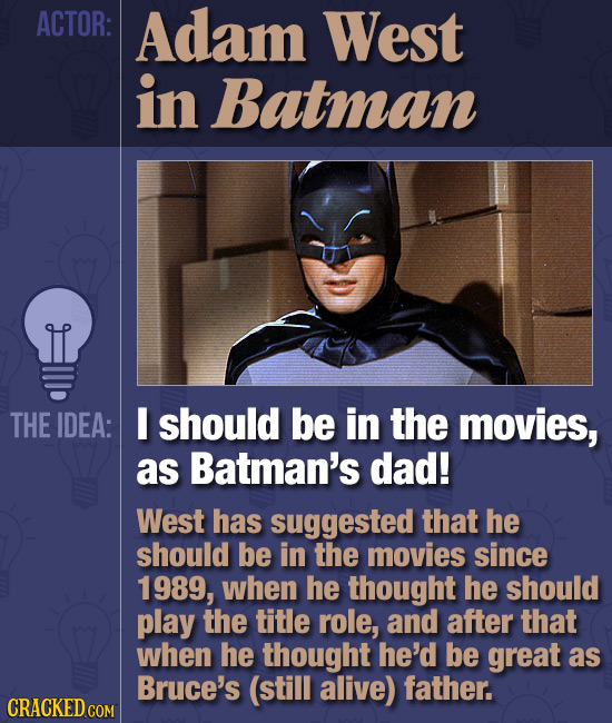 ACTOR: Adam West in Batman THE IDEA: I should be in the movies, as Batman's dad! West has suggested that he should be in the movies since 1989, when h