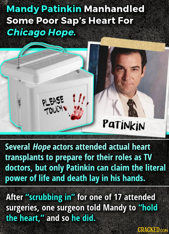 Mandy Patinkin Manhandled Some Poor Sap's Heart For Chicago Hope. PLEASE TOUCH PatiNkin Several Hope actors attended actual heart transplants to prepa