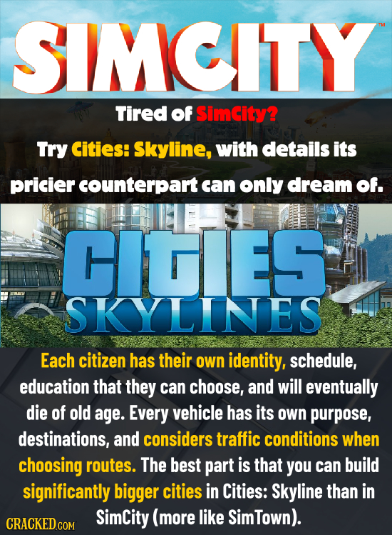 SMCITY Tired of Simcity? Try Cities: Skyline, with details its pricier counterpart can only dream Of. CIGIES SKYLINES Each citizen has their own ident