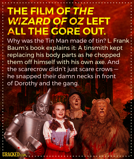THE FILM OF THE WIZARD OF OZ LEFT ALL THE GORE OUT. Why was the Tin Man made of tin? L. Frank Baum's book explains it: A tinsmith kept replacing his b