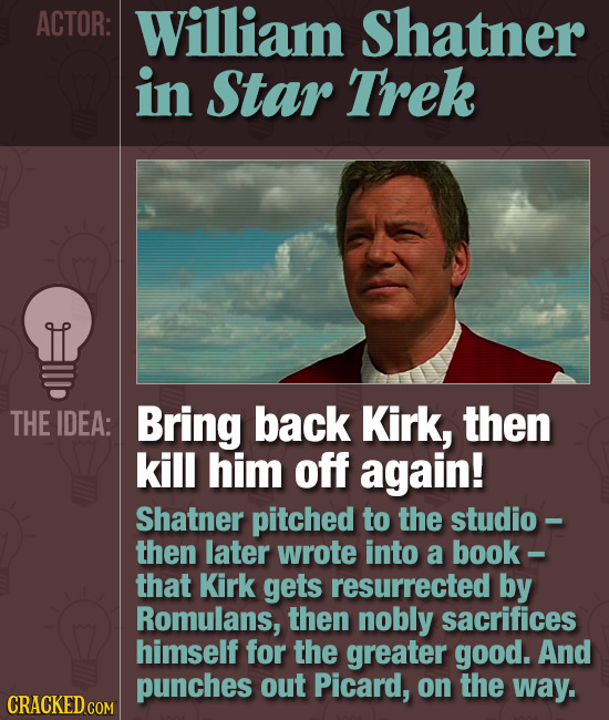 ACTOR: William Shatner in Star Trek THE IDEA: Bring back Kirk, then kill him off again! Shatner pitched to the studio- then later wrote into a book- t