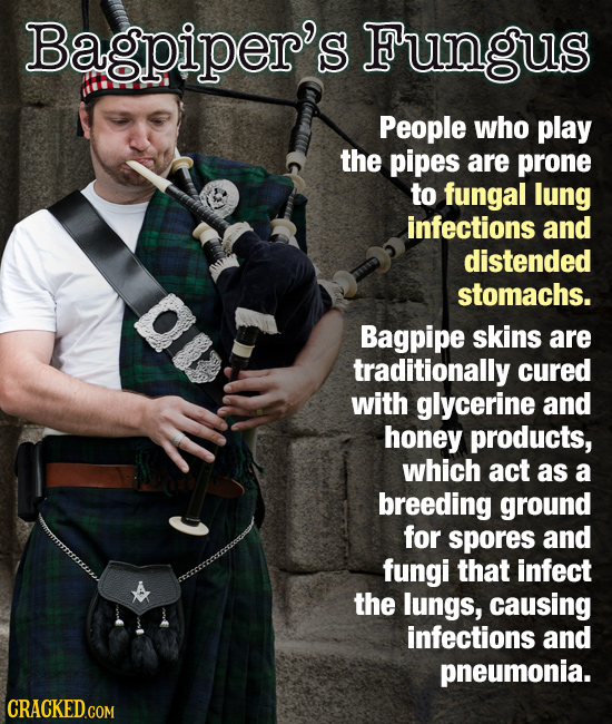 Bagpiper's Fungus People who play the pipes are prone to fungal lung infections and distended stomachs. Bagpipe skins are traditionally cured with gly