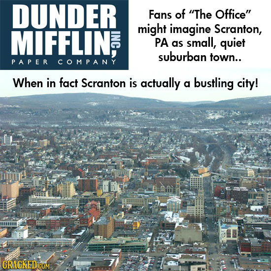 DUNDER Fans of The Office MIFFLIN, might imagine Scranton, PA as small, quiet suburban town.. PAPER COMPANY When in fact Scranton is actually a bust