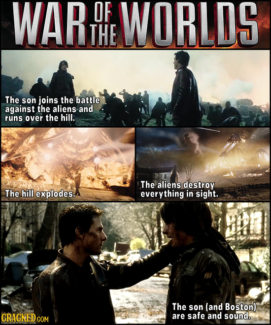 WAR OF WORLDS THE The son joins the battle against the aliens and runs over the hill. The aliens destroy The hill explodes. everything in sight. The s