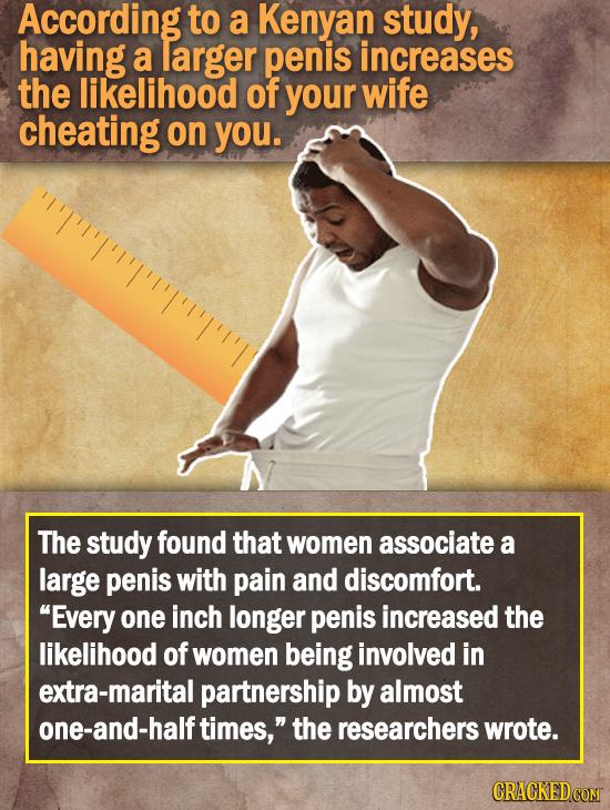 According to a Kenyan study, having a larger penis increases the likelihood of your wife cheating on you. TT'Tp'Tm The study found that women associ