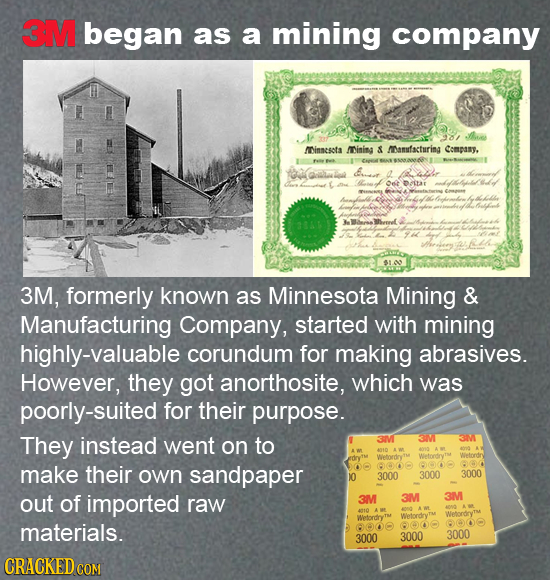 3M began as a mining company 98/ he minsesota Mining A MNamufacturing Compasy. SNANARN Goialot Orot Dutar nn a 3M, formerly known as Minnesota Mining