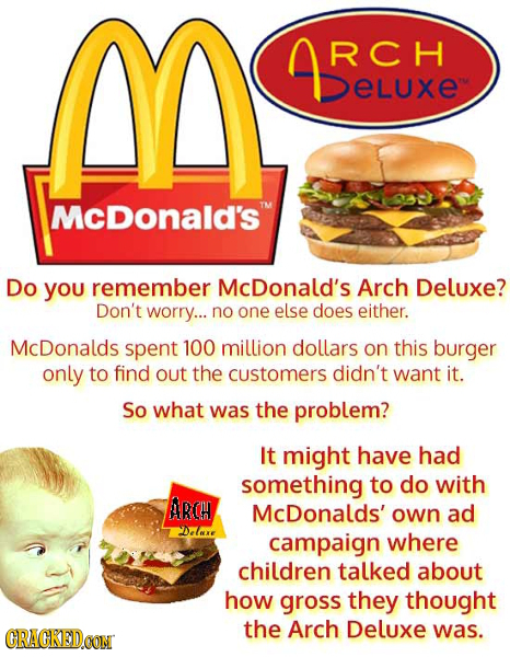 M RCH DELUXE eLuxe Mcdonald's Do you remember McDonald's Arch Deluxe? Don't worry... no one else does either. McDonalds spent 100 million dollars on t