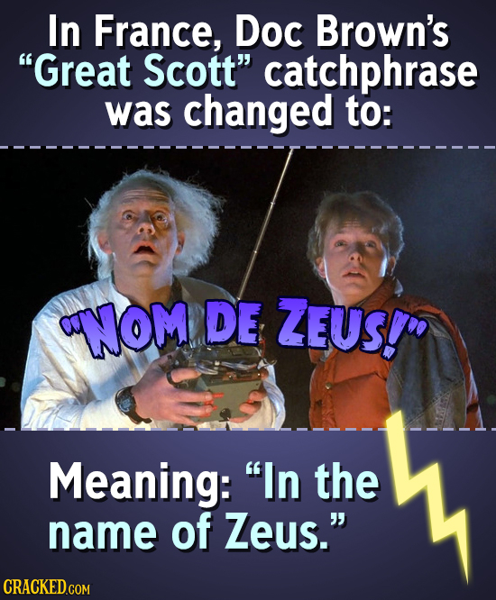 In France, Doc Brown's Great Scott catchphrase was changed to: NOM DE ZEUS! Meaning: In the name of Zeus.