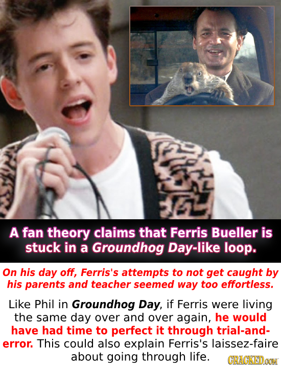 A fan theory claims that Ferris Bueller is stuck in a Groundhog Day-like loop. On his day off, Ferris's attempts to not get caught by his parents and