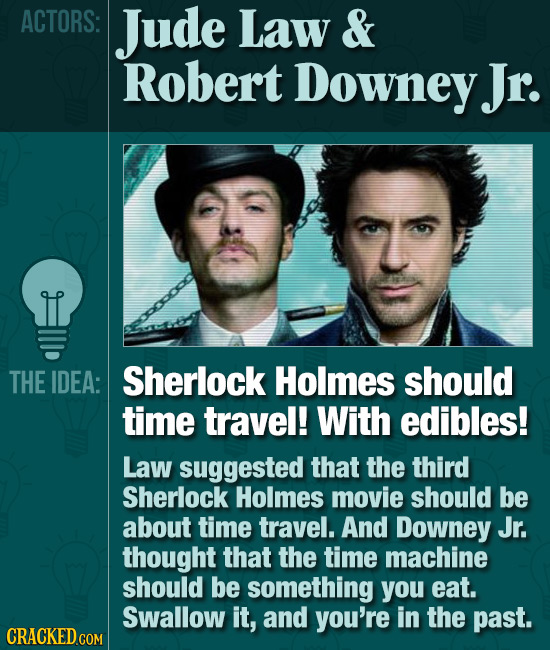 ACTORS: Jude Law & Robert Downey Jr. THE IDEA: Sherlock Holmes should time travel! With edibles! Law suggested that the third Sherlock Holmes movie sh