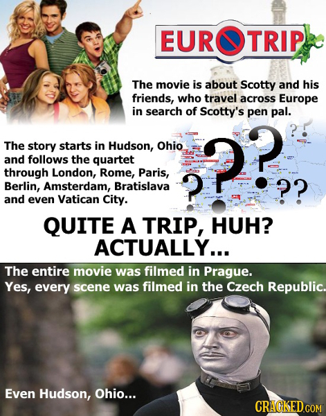 EUROTRIP The movie is about Scotty and his friends, who travel across Europe in search of Scotty's pen pal. The story starts in Hudson, Ohio and follo