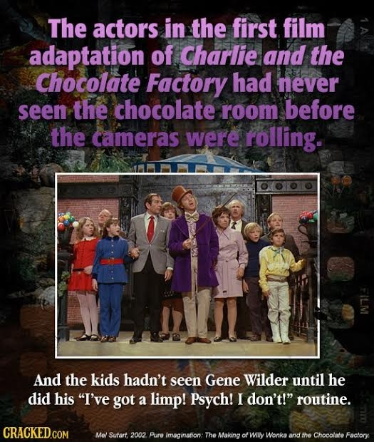 The actors in the first film adaptation of Charlie and the Chocolate Factory had never seen the chocolate room before the cameras were rolling. w And